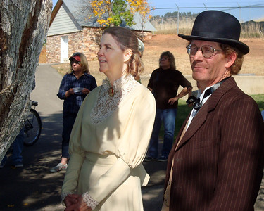 Taking pause during the 2012 Cemetery Walk were Anna Owsley (Lynn Pederson) and William Jones (Guy Darland).