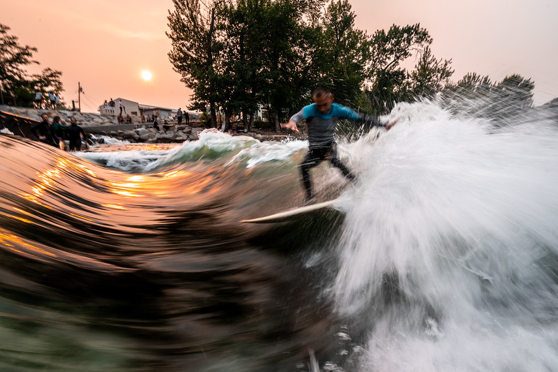 A smoky evening Surf Session at the Boise River Park.
