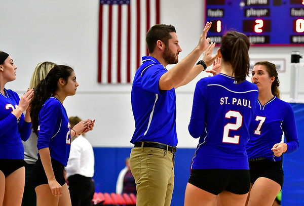 10/27/2018 Mike Orazzi | Staff St. Paul girls volleyball coach Devin Pecevich in Bristol Saturday.