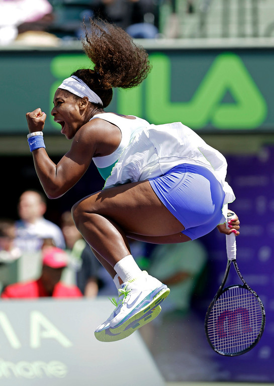 . Serena Williams celebrates her 6-3, 7-6(5) win against Li Na, of China, during the Sony Open tennis tournament in Key Biscayne, Fla.,  Tuesday, March 26, 2013. (AP Photo/Alan Diaz)