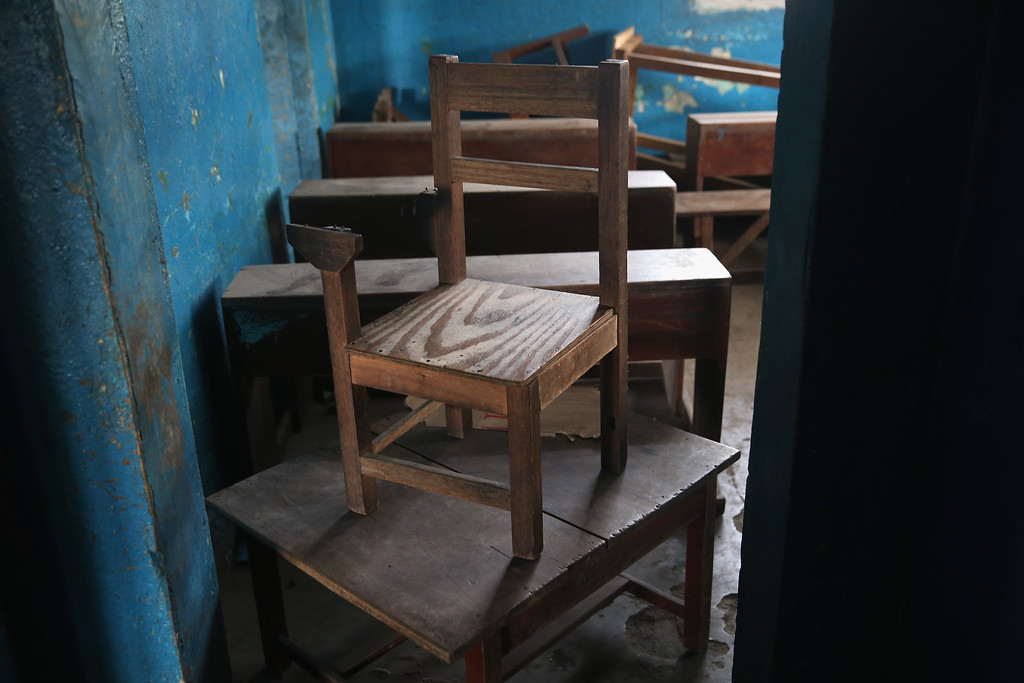 . A broken chair stands in a kindergarden on January 27, 2015 in Monrovia, Liberia. Although Liberian schools are supposed to reopen next Monday, February 2, many have not been cleaned nor have adequate supplies since they were closed last March due to the Ebola epidemic.   (Photo by John Moore/Getty Images)