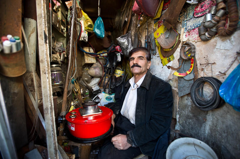 An Kurdish man in his workshop, Sulaymaniyah, Iraqi Kurdistan.