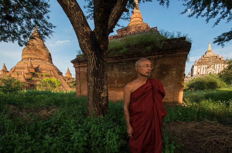 A monk in Bagan, Myanmar, 2017
