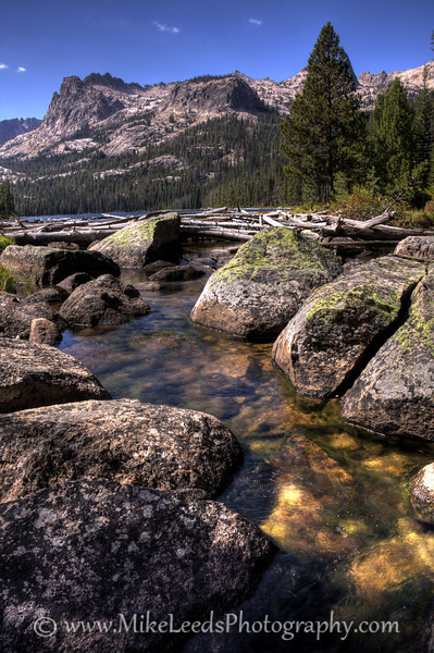 Creek flowing out of Hell Roaring Lake in the Sawtooth Mountains, Idaho.