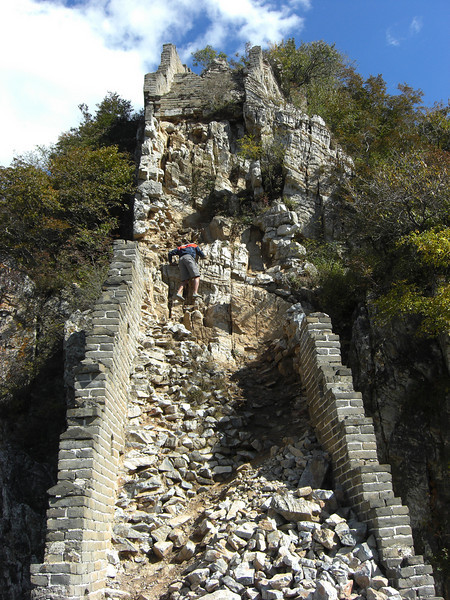 that is me rock climbing on a section of the great wall that has no been restored. This is on the Jian Kou section of the great wall.
