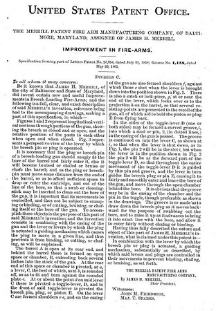 20954RE 1158 - Improvement in Firearms, assigned to the Merrill Patent Firearms Mfg Co (March 26, 1861)