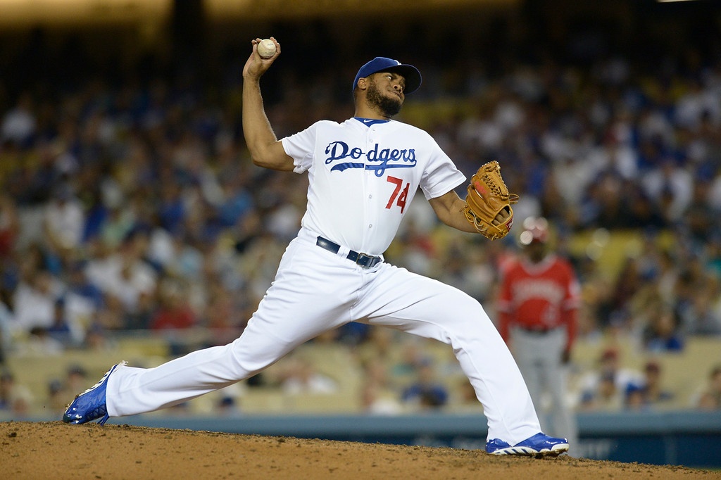. Kenley Jansen on the mound in the 9th inning. The Dodgers defeated the Angels 5-4. Los Angeles, CA. 8/5/2014(Photo by John McCoy Daily News)