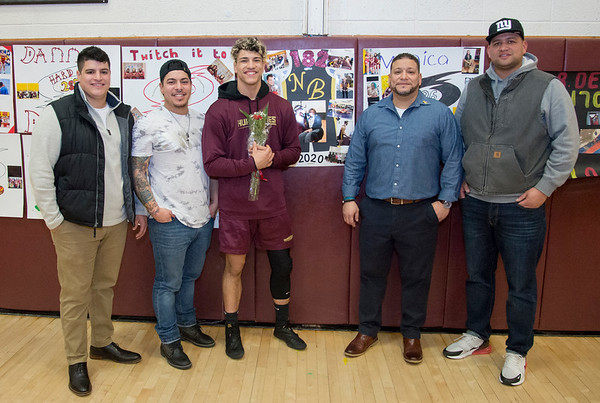 01/29/20 Wesley Bunnell | StaffrrNew Britain wrestling defeated Farmington on Senior Night on Wednesday January 29, 2020. Giovanni Medina, Dominick Medina, Isaiah Medina, Frank Medina Sr. & Frank Medina Jr.