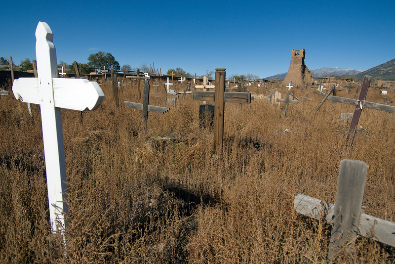 Taos Pueblo Cemetery in New Mexico, USA