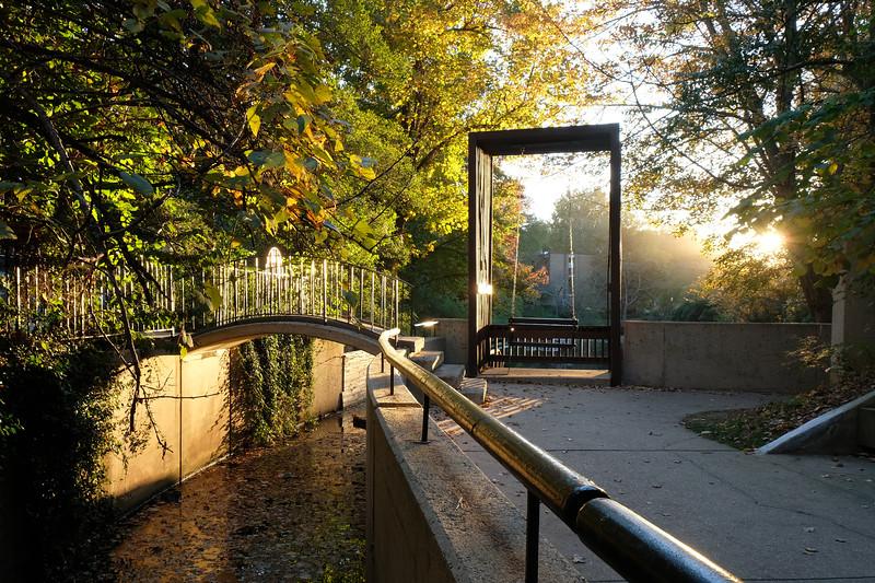 Lake Anne swing with fall foliage