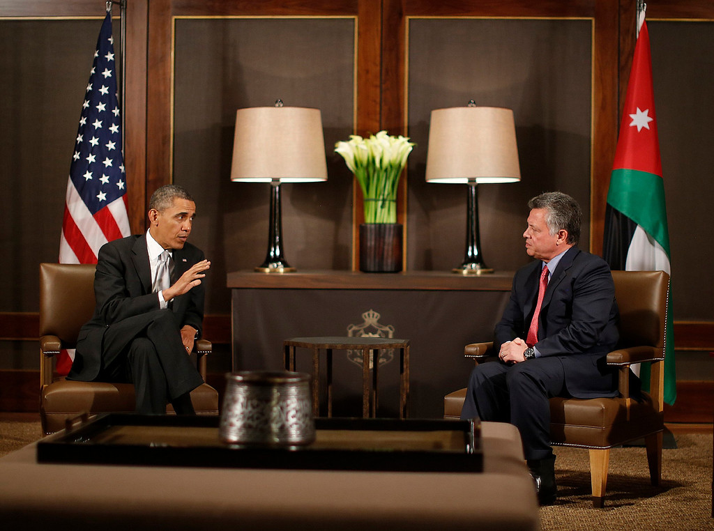 . U.S. President Barack Obama participates in a bilateral meeting with Jordan\'s King Abdullah II at Al-Hummar Palace, in Amman March 22, 2013. REUTERS/Jason Reed