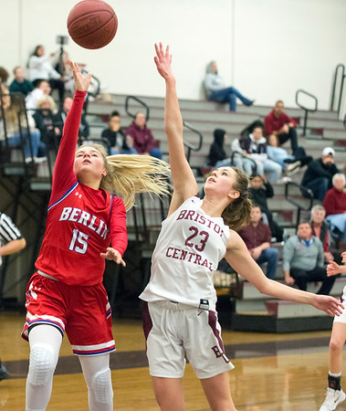 01/10/20 Wesley Bunnell | StaffrrThe Bristol Central girls basketball team was defeated at home on Friday night by Berlin. Berlin's Carly Grega (15) and BC's Ella Watson (23).