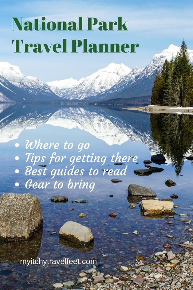 Text on photo: National Park Travel Planner, where to go, tips for getting there, best guides to read, gear to bring. Photo: white-capped mountains reflecting in a blue lake with rocks near the shore.