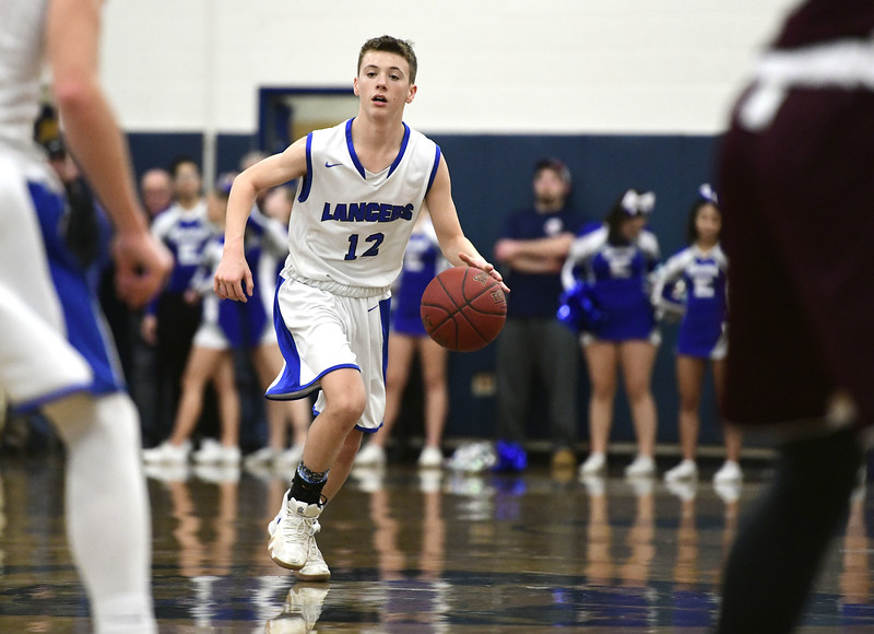 1/18/2019 Mike Orazzi | Staff Bristol Eastern's Elijah Parent (12) during Friday night's boys basketball game with Bristol Central at Eastern.