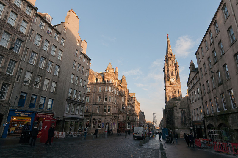 Street scene with a view of Edinburgh Clock Tower - Scotland