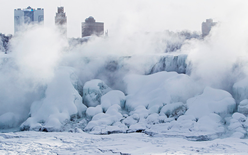 . Masses of ice form  in the lower Niagara River and around the American Falls as seen from Niagara Falls, Ontario, Canada, Thursday, Feb. 19, 2015. (AP Photo/The Canadian Press,Aaron Lynett)