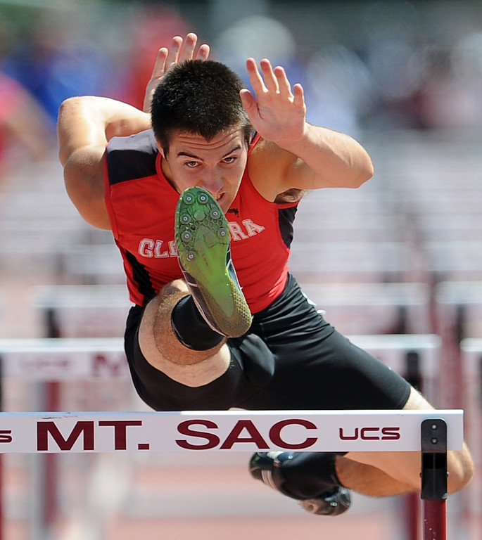. Glendora\'s Cade Lindsey in the 100 meter high hurdles during the CIF-SS track & Field championship finals in Hilmer Stadium on the campus of Mt. San Antonio College on Saturday, May 18, 2013 in Walnut, Calif.  (Keith Birmingham Pasadena Star-News)