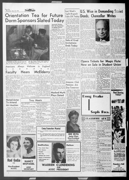 Daily Trojan, Vol. 44, No. 122, April 30, 1953