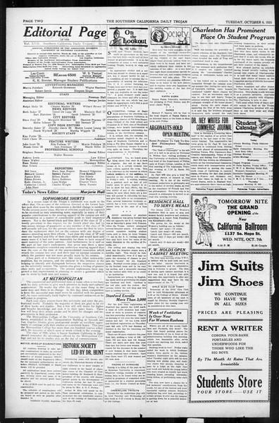 Daily Trojan, Vol. 17, No. 15, October 06, 1925