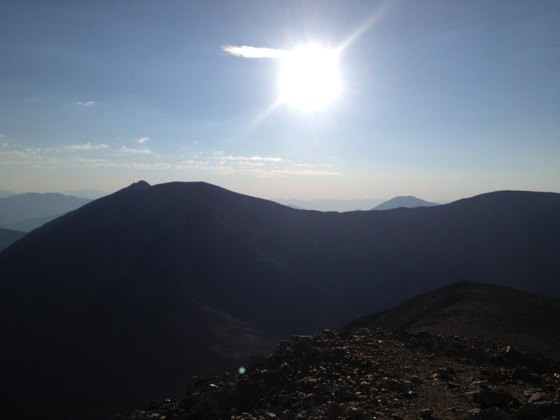"""View east, with the pointy summit of Lincoln now showing; Bross """"high point"""" on right ridge."""