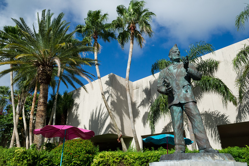 Hector P. Garcia statue drenched in sunlight on a bright summer day