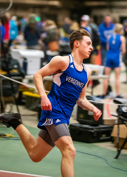 Junior Xander DeBlois running in the 300. Xander finished 4th with a time of 40.20. Vermont Division II Indoor Track State Championships - UVM Gutterson Field House - 2/16/2020
