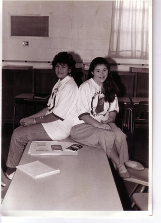 00-00 (unknown) - Cathy and Heather (McCausland) Honerkamp on Yearbook Committee  at Southwest Junior High School - Lakeland, FL (Scanned)