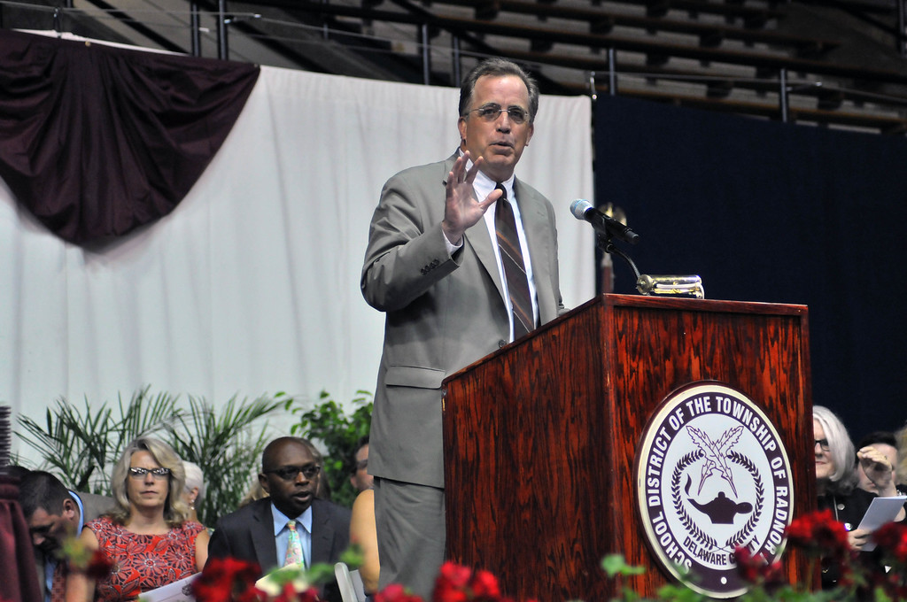 . Radnor High School Principal Mark Schellenger addresses the graduates of the Class of 2015 at the Commencement Ceremony on Wednesday evening. (Stephanie Peditto/Main Line Times)