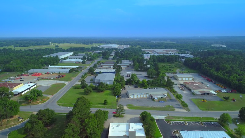 Aerial video Little Rock Arkansas warehouse district