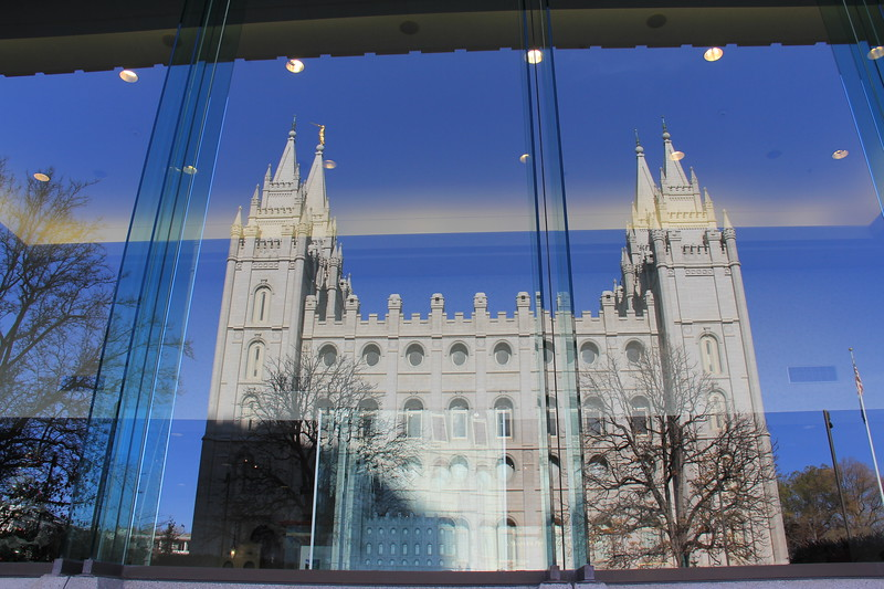 20161124-20 SLC LDS Temple reflected on Temple Square North Visitors' Center.JPG