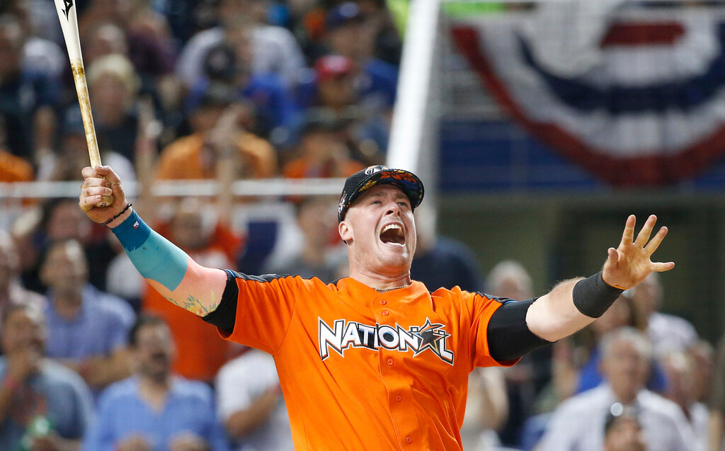. Miami Marlins\' Justin Bour reacts as he competes during the MLB baseball All-Star Home Run Derby, Monday, July 10, 2017, in Miami. (AP Photo/Wilfredo Lee)