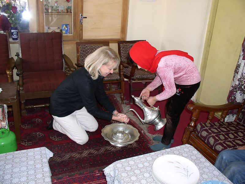 Ritual handwashing before lunch at the Azfar house where we had the shoe party.