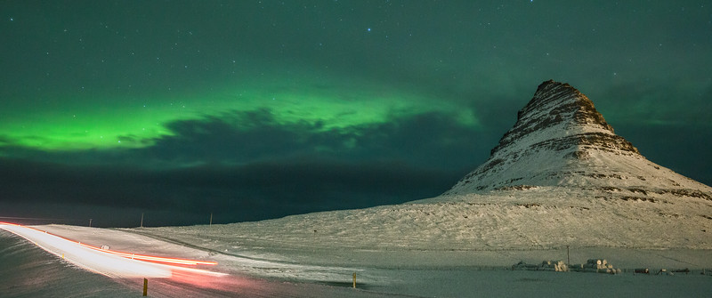 Snaefellsnes with the Northern Lights.