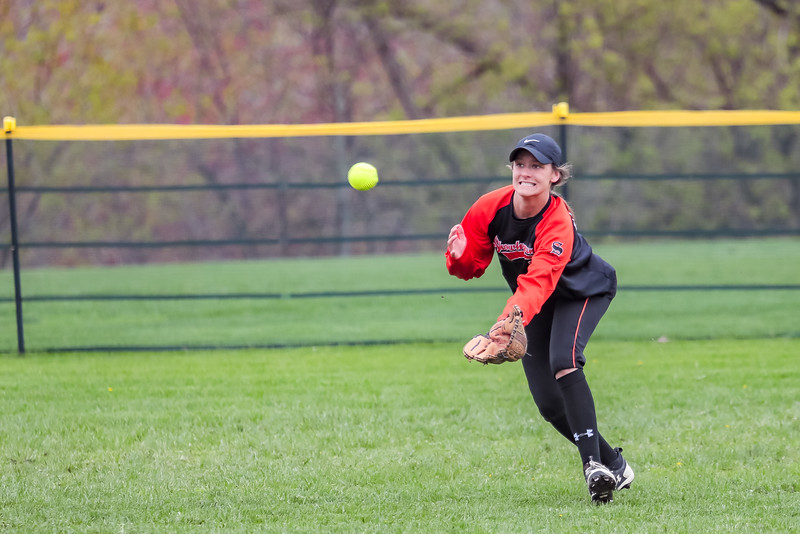 Skowhegan centerfielder Alyssa Everett comes in on a short fly ball. Everett was unable to make the play.