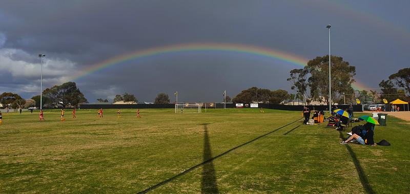 Rainbow over the soccer
