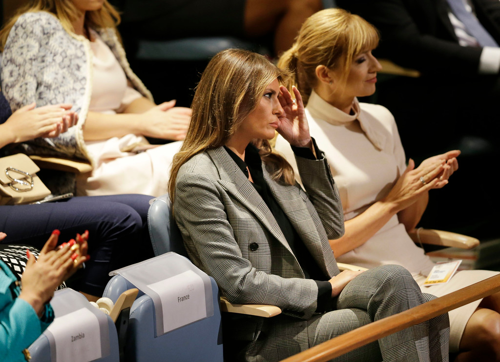 . First lady Melania Trump, wife of United States President Donald Trump, watches as her husband speaks during the United Nations General Assembly at U.N. headquarters, Tuesday, Sept. 19, 2017. (AP Photo/Seth Wenig)