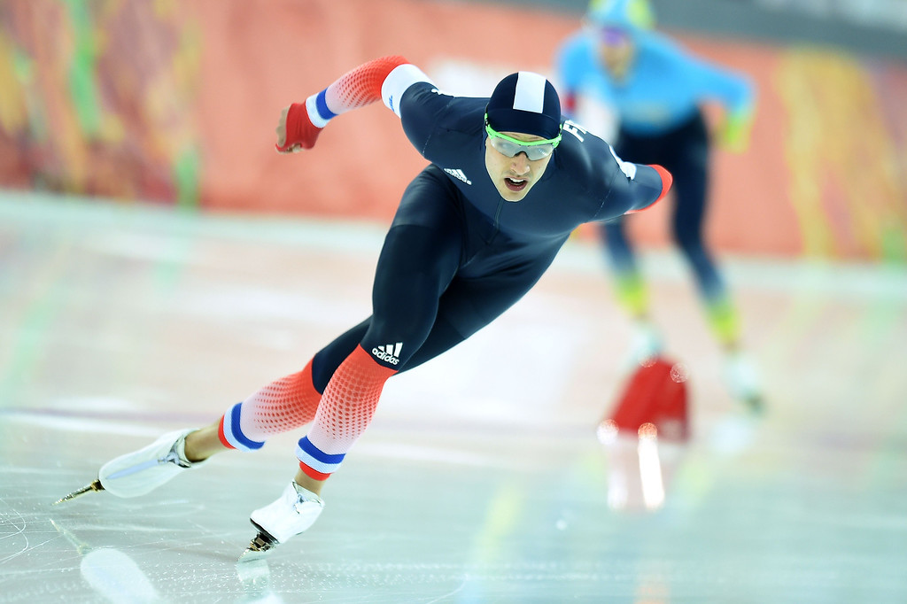 . France\'s Benjamin Mace competes in the Men\'s Speed Skating 1500 m at the Adler Arena during the Sochi Winter Olympics on February 15, 2014.            JUNG YEON-JE/AFP/Getty Images
