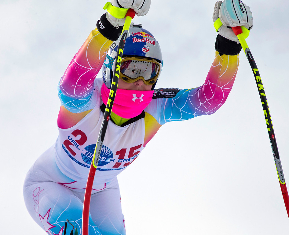 . Lindsey Vonn, of Vail, Colo., gets into the starting gate for the first speed training of the season at the U.S. Ski Team training center at Copper Mountain, Colo., on Wednesday, Nov. 6, 2013. (AP Photo/Nathan Bilow)