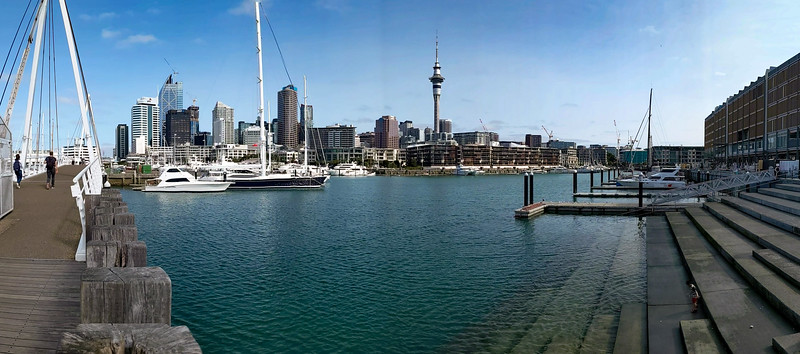 Sky Tower, Auckland, and Wynyard Crossing from Viaduct Basin.