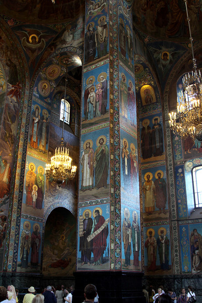 Interior of the Church of the Saviour on Spilled Blood.  The church was fully restored between 1970 and 1997 after the painstaking work of over 30 artists to restore 7000 square metres of mosaics.