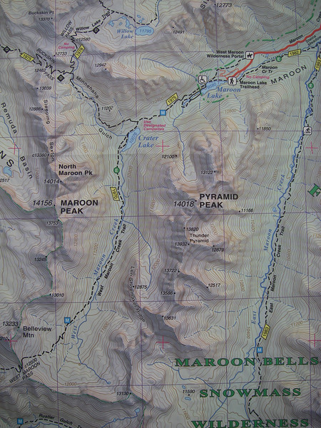 "From the Maroon Lake TH to our campsite just NW of Crater Lake is only a couple of miles and about 500' gain. [Great map of ""Aspen"" by Sky Terrain.]"
