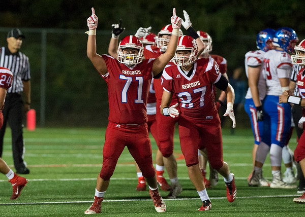 09/12/19 Wesley Bunnell | StaffrrBerlin football vs Tolland on Thursday night at Sage Park. Mike Rivera (71) reacts after a blocked extra point attempt.