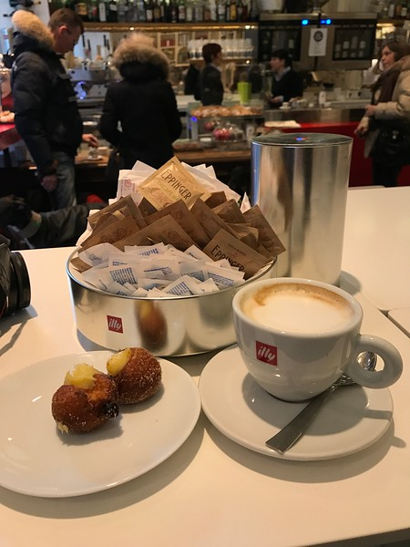 Illy Caffe Latte with Crema Donuts taken in Eppinger Cafe in Trieste, Italy