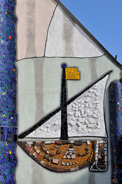 Detail of Boat Mosaic at St. Barbara-Kirche (Church of Saint Barbara, patron of miners) renovated by Friedensreich Hundertwasser in Bärnbach, Styria, Austria