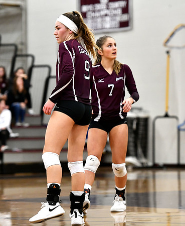 11/14/2019 Mike Orazzi | StaffrBristol Central High School's Ashleigh Clark (9) and Peyton Greger (7) during the Class L Second Round Girls Volleyball Tournament against St. Joseph at BCHS. rr