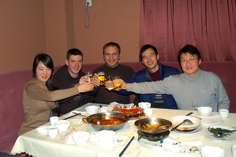 A toast of yellow rice wine and Jin Long beer with Ms He Peng, Marun, Wang Ling Long and Li Zhao Ming