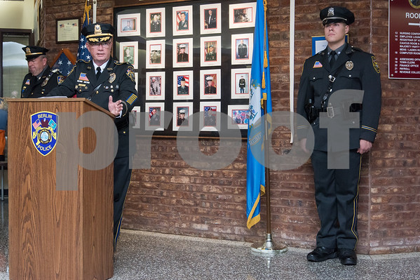10/18/17 Wesley Bunnell | Staff Berlin held an official ceremony on Wednesday night for the incoming Chief of Police John Klett and Deputy Chief Chris Ciuci. Chief John Klett speaks.