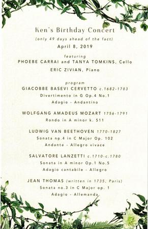 Ken Hecht's Birthday Concert  4/8/19