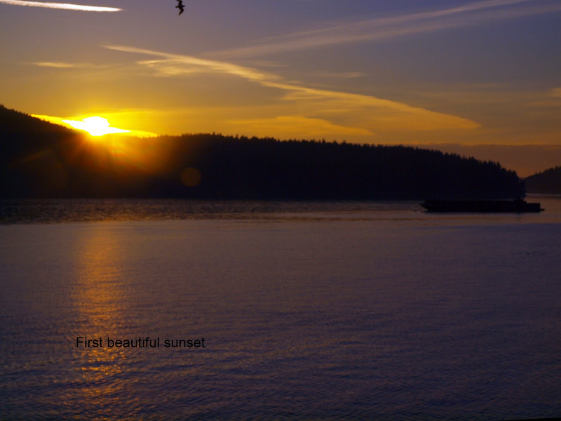 Our first sunset - from the deck of the Heron House