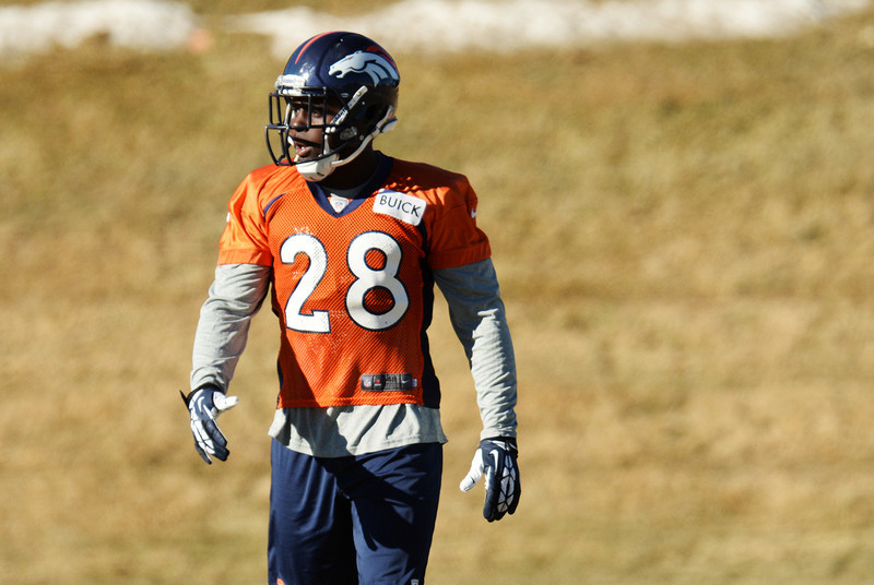 . Denver Broncos Montee Ball (28) is warming up for the team practice at Dove Valley. Centennial Colorado. January 17. 2014. (Photo by Hyoung Chang/The Denver Post)